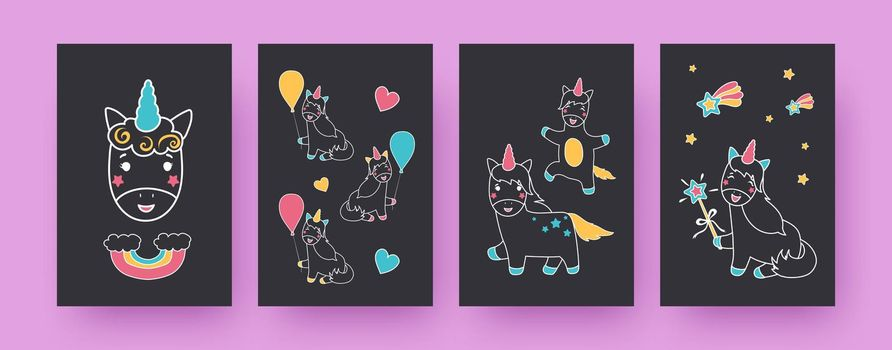 Collection of contemporary posters with adorable unicorns