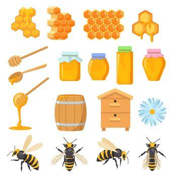 Colorful set of honey symbols