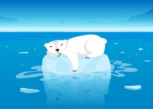 Cute polar bear character sleeping on floating glacier in ocean