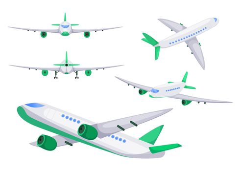 Airplane from different angles vector flat illustrations set