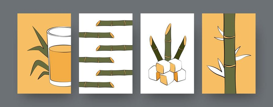 Collection of contemporary posters with sugarcane plants