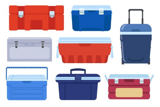 Different iceboxes vector illustrations set