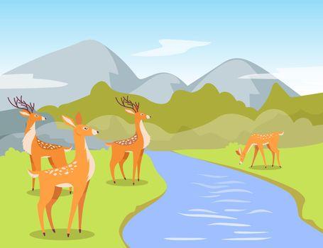 Deer at watering hole cartoon illustration