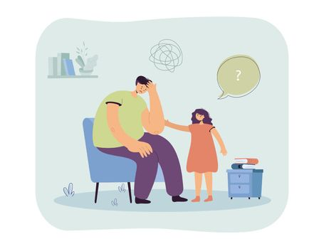 Daughter worrying about sad father