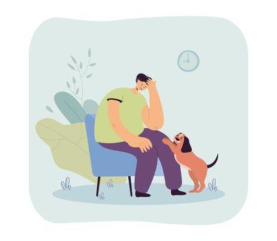 Cute dog comforting sad owner