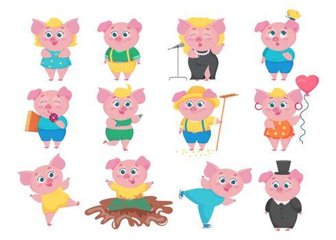 Funny pigs cartoon characters set.