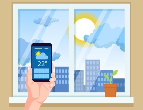 Hand holding mobile phone with weather app vector illustration
