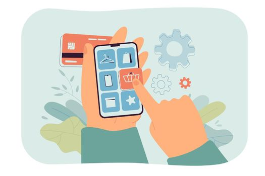Hand of customer holding smartphone and making purchase in app