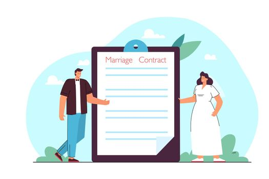 Groom and bride standing next to folder with marriage contract