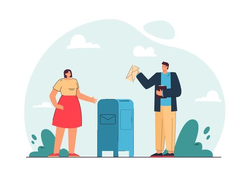 Man and woman sending letters vector illustration