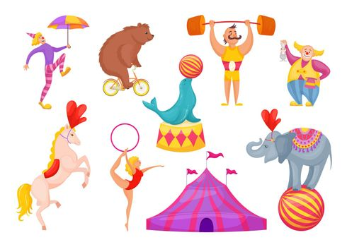 Circus characters and animals vector illustration.