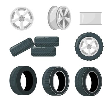 Set of car tires and wheels