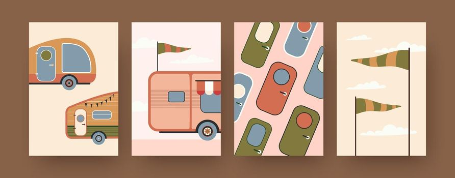 Collection of contemporary art posters with camping caravans