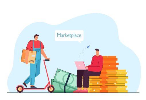Man making online order on marketplace flat vector illustration