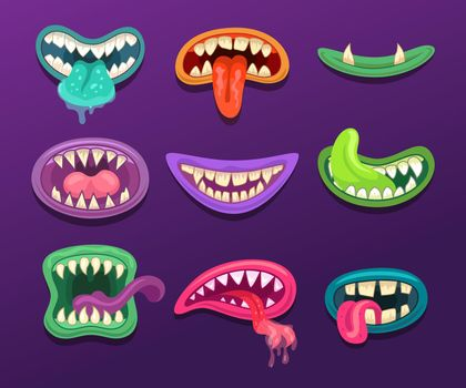 Monster mouths illustrations set in cartoon style