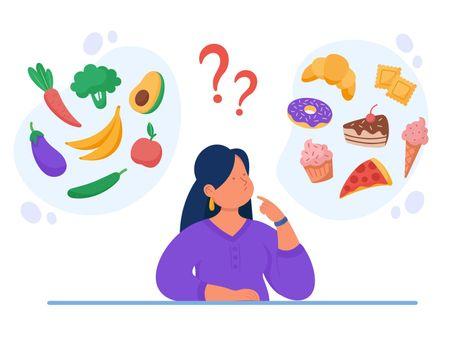 Healthy vs unhealthy food vector flat illustration.