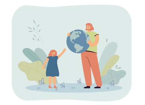 Mother giving globe to daughter
