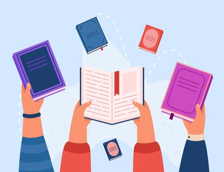 Top view of hands holding books flat vector illustration