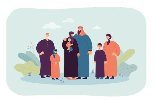 Happy cartoon muslim family