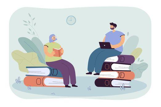 Tiny people reading books