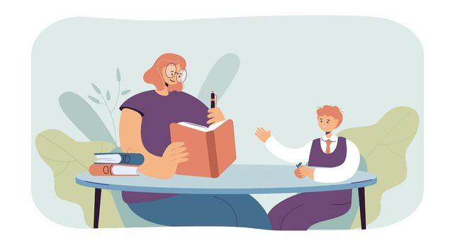 Woman teaching boy vector illustration