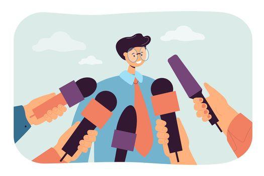 Cartoon man giving opinion to public press