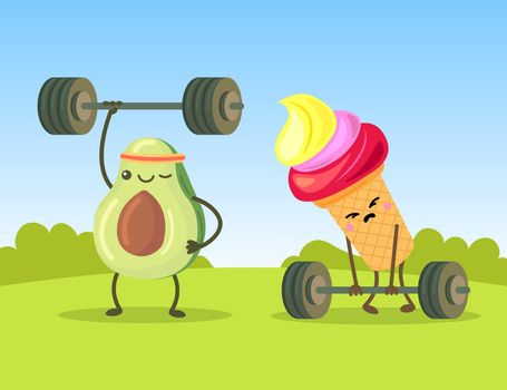 Cute avocado and ice cream characters exercising with dumbbells