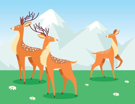 Deer grazing in cartoon style