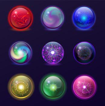 Magic balls illustration set