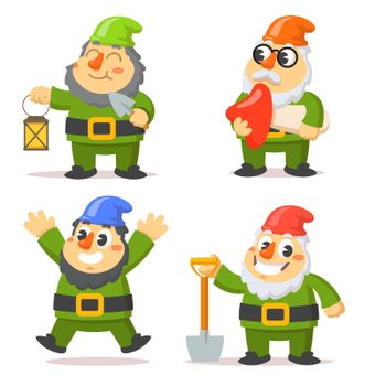 Funny gnome characters flat vector illustrations set
