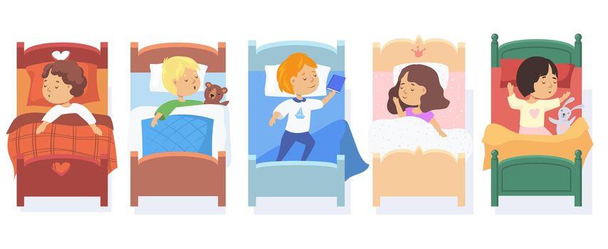 Set of children sleeping in beds