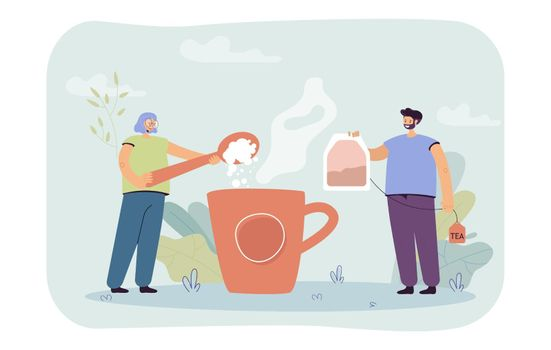 Man and woman brewing huge cup of tea