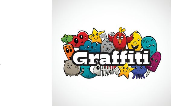 Graffiti Characters Composition Flat Concept