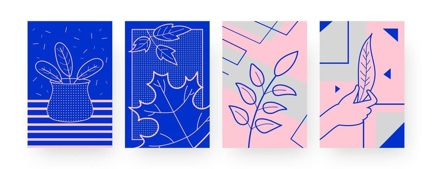 Collection of contemporary posters with dry leaves