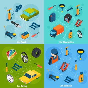 Car Repair And Tuning Isometric Icons