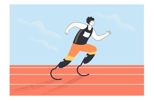 Paralympic athlete running flat vector illustration