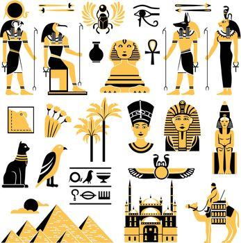 Egypt Symbols Decorative Icons Set