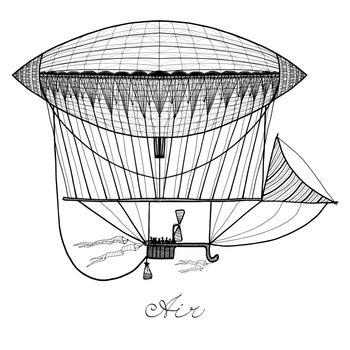 Doodle Airship Illustration