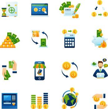 Currency exchange flat icons set