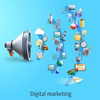 Digital marketing concept flat banner