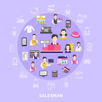Salesman Icons Round Composition