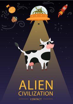 Flat Alien Poster