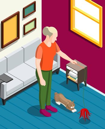 Games With Cat Isometric Background