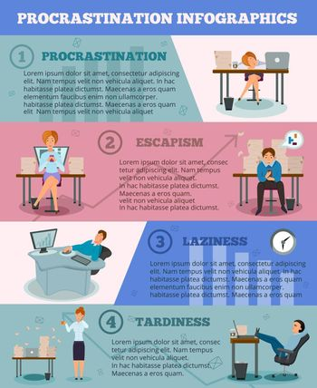 Procrastination Infographic Cartoon Characters Poster