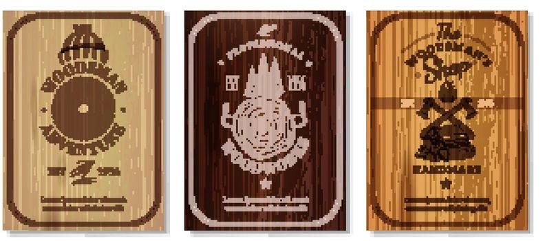 Lumberjack Woodwork Texture Banners Set
