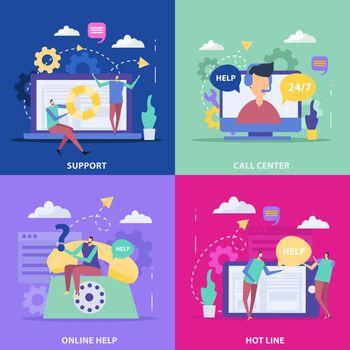 Support Service Flat Design Concept