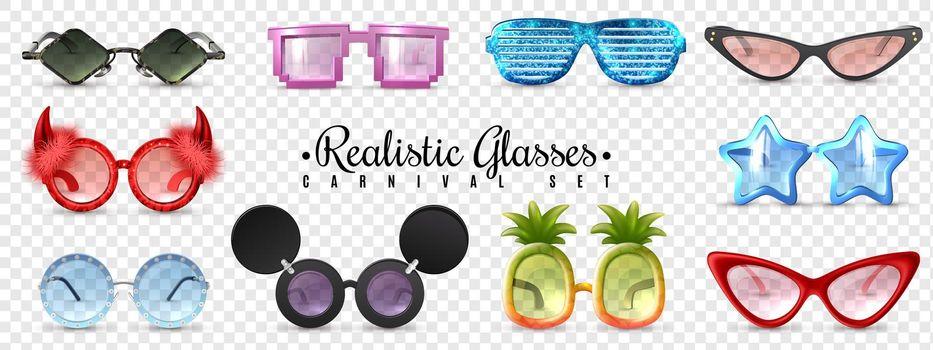 Glasses Carnival Transparent Set