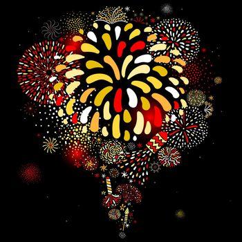 Festive Firework Black Background Poster