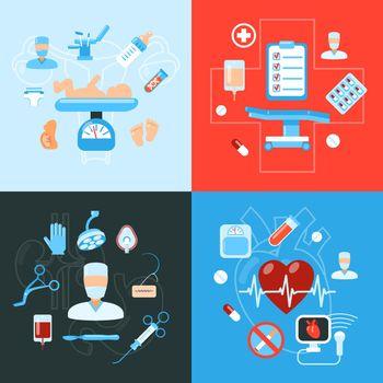 Surgery medical icons design concept