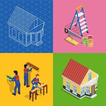 Renovation Isometric Concept Icons Set